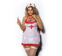 Костюм медсестры Angels Never Sin Shane (сорочка, головной убор и стринги-пояс с пажами для чулок), белый, XL