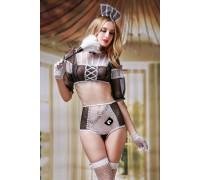 Костюм горничной Candy Girl Crystal (топ, трусы, перчатки, чулки, головной убор, метелка), черно-белый, OS